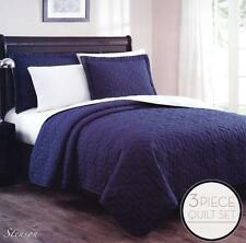 New! Stenson 3 Pc Reversible Bedspread Quilt Set Size Queen/ King Navy Ivory