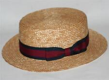 NAUTICAL Italian Venice Natural Color WHEAT STRAW SKIMMER DERBY BOATER HAT M L