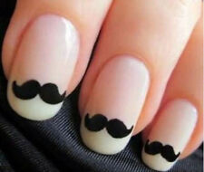 3D Nail Art Stickers Black Tattoos Top Mustache Cute Beard Pattern