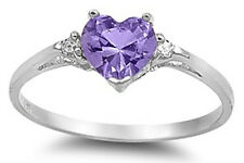 925 Pure Sterling Silver CZ Heart Solitaire Amethyst Color Birth Promise Ring