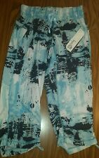 NWT WOMEN'S KYODAN ATHLETIC YOGA RUCHED CARGO CAPRI STUDIO PANTS SKY BLUE PRINT