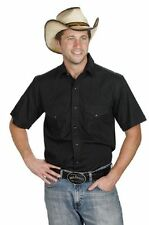 Men's New Western Express Cowboy Rodeo Short Sleeve Cotton Cow Shirt Black