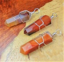 Carnelian Agate Necklace - Wire Wrapped Crystal Point (A46) Terminated Stones