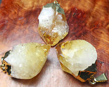 Citrine Pendant - Crystal Point Necklace (LR32) Gold Plated Natural Gemstone