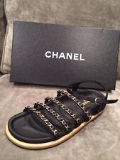 CHANEL 15P 2015 Chain Embellished Strappy Satin Flat Sandals Shoes Black $1150