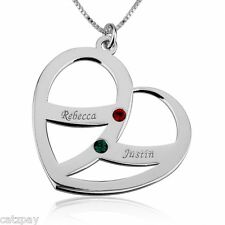 Sterling Silver / gold Engraved Name and Birthstone Heart Mother Necklace
