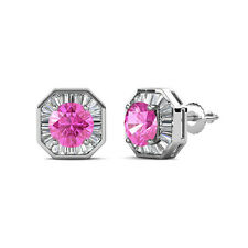 Pink Sapphire and Diamond (SI2-I1,G-H) Halo Stud Earrings 2.95 ct tw in 14K Gold