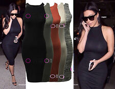 WOMENS CELEBRITY INSPIRED DRESS LADIES KIM KARDASHIAN MIDI BODYCON DRESS