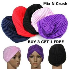STRETCHY LADIES CHEMO TURBAN INDIAN CLOCHE TRENDY PLEATED HEADBAND HEAD WRAP 3