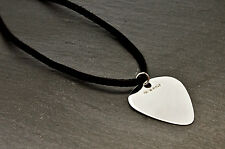 Personalised Sterling Silver Guitar Plectrum Pick Necklace, Any Message Engraved