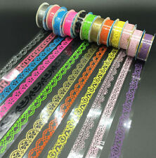 13PCS Lace Tape Roll Washi Paper Decor Sticky Crafts Self Adhesive Stickers DIY