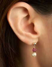 14K Gold Filled Swarovski Crystal pave ball bead Earrings, Fuschia & Cream Pearl