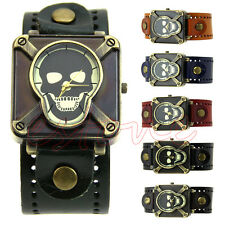 Men Gothic Rock Cross Skull Dial Leather Band Square Quartz Analog Wrist Watch