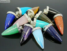 Natural Gemstones Pointed Cone Spike Horn Tusk Tooth Silver Pendant Charm Beads