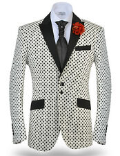 Angelino Men's Polka Dot 100 % Cotton Fashion Sport Coat Blazer Black/White