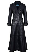 Ladies New 3490 Black Napa sheep Leather Full-Length Long Goth Coat Rock Jacket