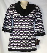 Junior's Baby Phat NWT Black & Purple Striped Turtleneck Sweater Small