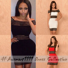 Sexy Off Shoulder Stripe Mesh Mini Slim Evening Party Dance Club Bodycon Dress