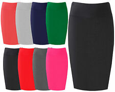 Womens Midi Pencil Skirt Ladies Plain Jersey Bodycon Tube Skirt Plus Sizes 8-16