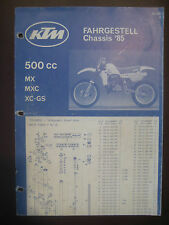KTM 1985 Part Number Diagram Poster Chassis 500 MX MXC XC-GS Motorcycle Manual