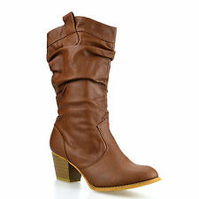 Ladies Womens Mid Calf Block Heel Winter Riding Cowboy Biker Boots Shoes Size