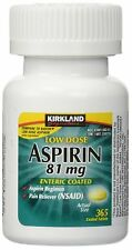 Kirkland Low Dose Aspirin 81mg Enteric Coated Tablets NSAID Pain Reliever