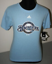 "MILWAUKEE BREWERS LIGHT BLUE ""ADIDAS"" COTTON TEE  SHIRT - NWT - LICENSED"