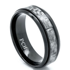 Black Titanium Men's Wedding Band, Ring 8MM Gray Carbon Fiber Inlay Comfort Fit