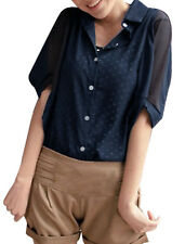 Ladies Point Collar Batwing Sleeve Button Down Semi Sheer Blouse