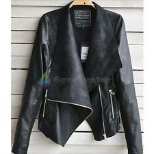 Fashion Sexy Ladies Womens Slim Biker Motorcycle Faux Leather Zipper Jacket Coat
