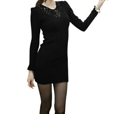 Ladies Puff Sleeves Casual Autumn Stretchy Mini Dress