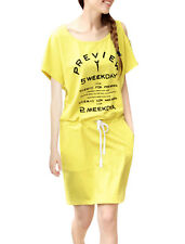Woman Korea Fashion Short Dolman Sleeve Letters Prints Casual Dress