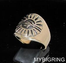 BRONZE MEN'S RING EGYPT ALL SEEING EYE OF RA UDJAT WEDJAT ANTIQUED ANY SIZE