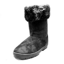 Black faux suede fur lined flat snugg boots