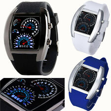 Fashion Aviation Turbo Dial Flash LED Mens Watch Womens Watches Sports Car Meter