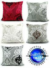 CUSHIONS DAMASK VELOUR CUT VELVET CUSHIONS OR COVERS RED,CREAM,SILVER,BROWN