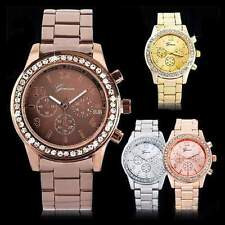 Fashion Crystal Dial Ladies Women Girl Stainless Steel Analog Quartz Wrist Watch