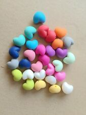 Heart Shape Silicone Loose Beads Teething Necklace Jewelry Nursing MIX COLOUR
