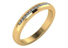 0.12ct Traditional Bridal 14K Yellow Gold Wedding Band with Diamonds