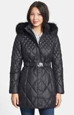 GUESS Coat Hooded Fur Trim Quilted Puffer Belted Jacket Black 2017 пуховик OBO