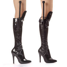 ELLIE 511-SADIE Women Pointy Toe Stiletto Knee High Sexy Costume Boot With Whip