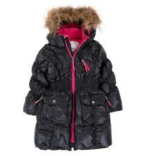 Deux Par Deux Fluffy Puffy Girls Long Coat Black With Fur Trim Size 3 to 12 Year
