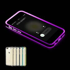 For iPhone 5 S 6 Plus Hybrid Slim Clear Crystal TPU Bumper LED Flash Case Cover