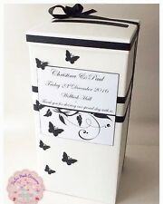 Beautiful Butterfly Personalised Wedding Card Post Box. Various Colours!