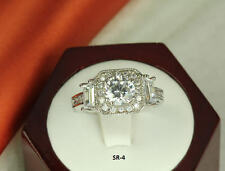 LADIES STERLING SILVER ANTQ CZ ANNIVERSARY ENGAGEMENT WEDDING HALO RING SZ5-9