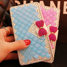 Bling Crystal Diamonds bow PU leather flip slots stand wallet case cover skin #1