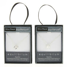 Equilibrium Silver Plated Crystal Cube Necklace