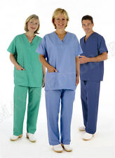 Medical Scrub Suit TUNIC & TROUSER SET, Reversible, Unisex Blue Green Hospital
