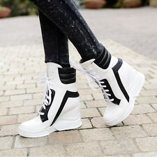 New Women's Ankle Bootie Boots High Wedge Heel Lace Up Multi Color Hi Top Shoes