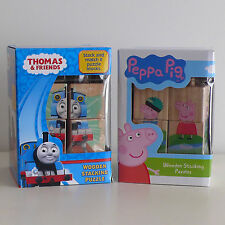NEW Peppa Pig OR Thomas & Friends Wooden Building Blocks Pre-School Toddler Gift